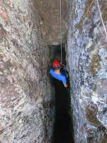 abseiling in caves