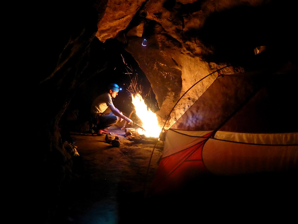 Camping in caves
