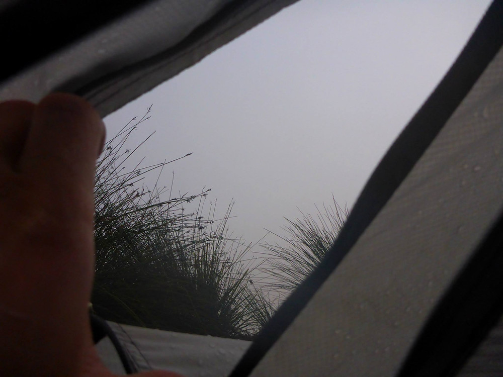 Mist outside of a tent