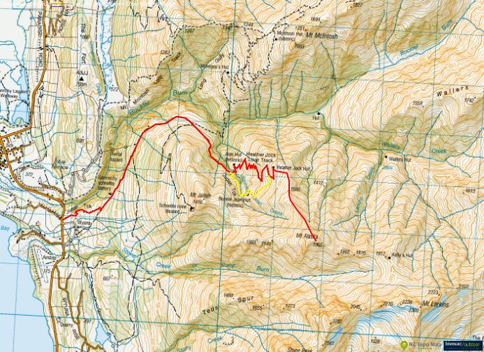 Hiking Mt Alaska in New Zealand-map