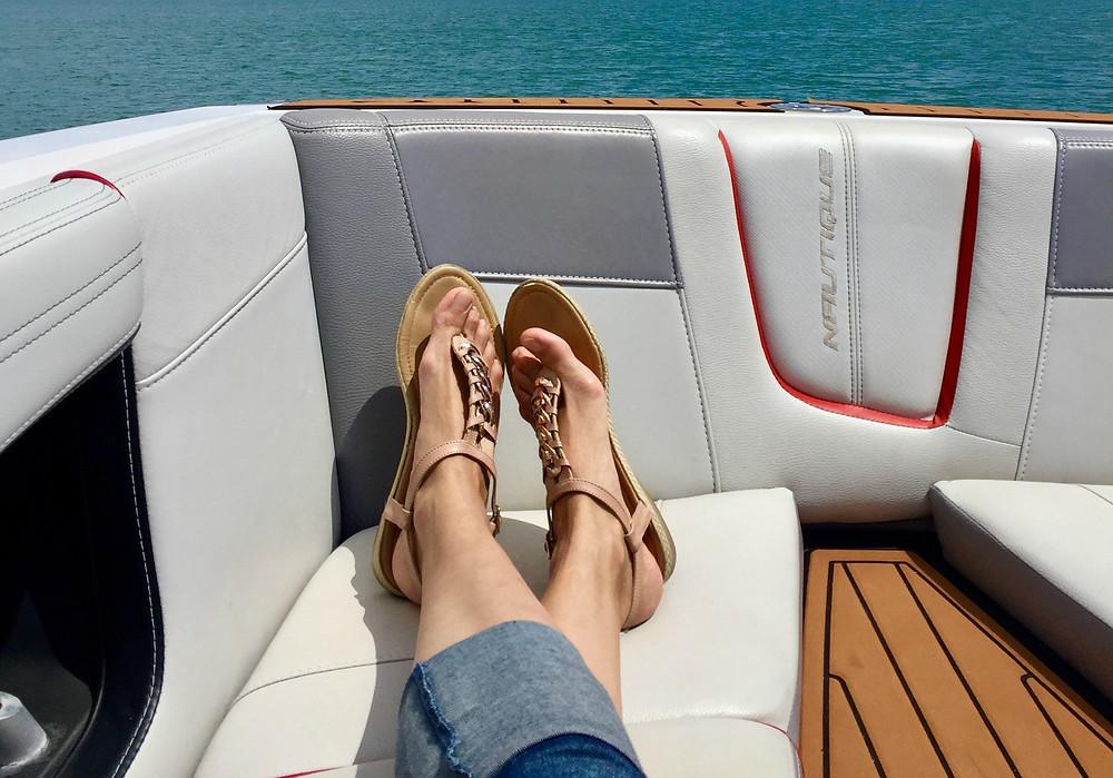 girl relaxing on boat