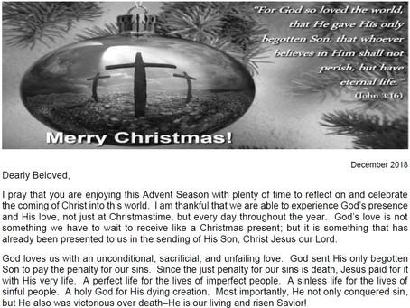 2018 Christmas Letter