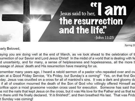 2020 Easter Letter