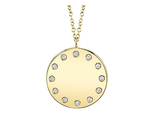 Disk Diamond Necklace