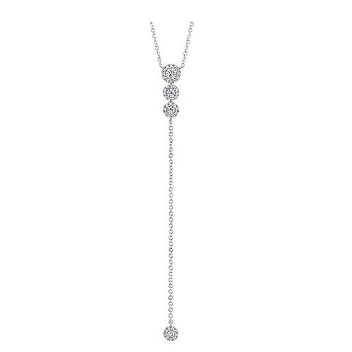 Diamond Halo Lariat Necklace