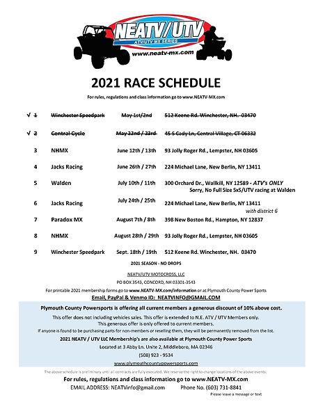 1 - 2021 NEATV Race Schedule updated 6-1