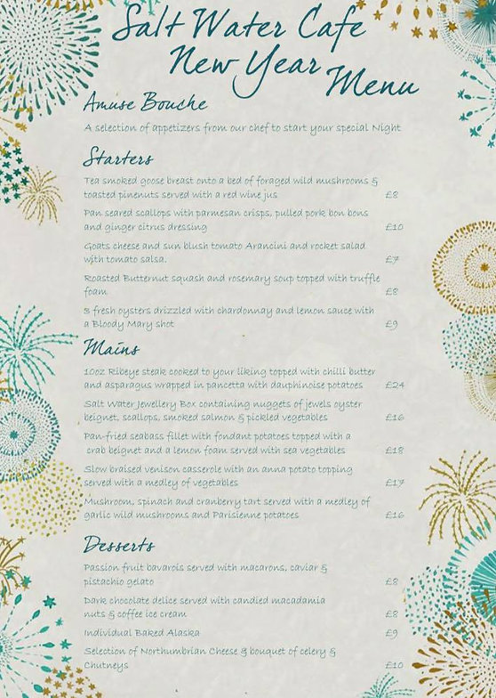 Salt Water Cafe New Years Eve Menu 2019
