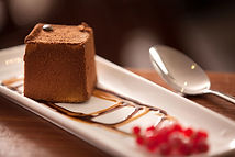 Eating out in Northumberland, pub food Craster Arms, Beadnell . Northumberland. Chocolate dessert