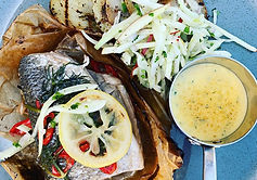 ai  grilled sea bass with chilli, dill,