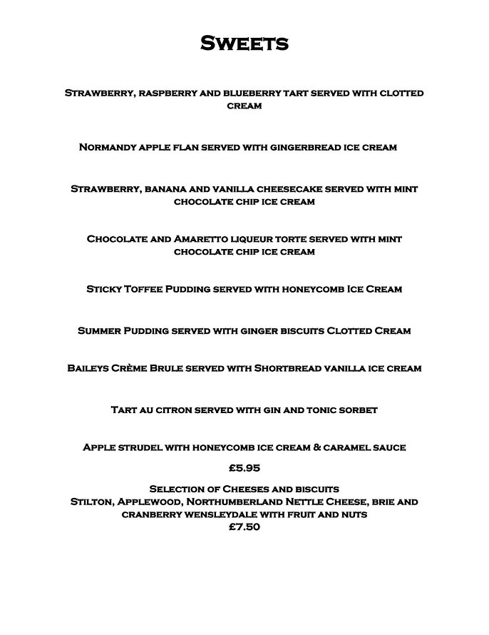 Dessert Menu White Swan Inn Warenford