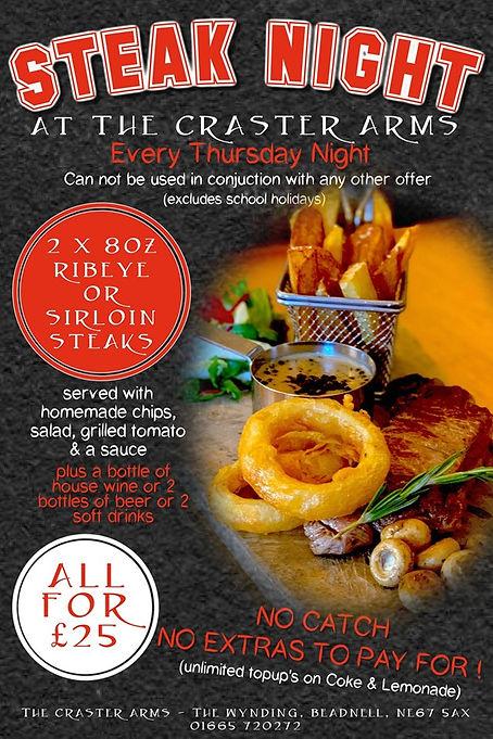 Steak Night Craster Arms Beadnell Northumberland