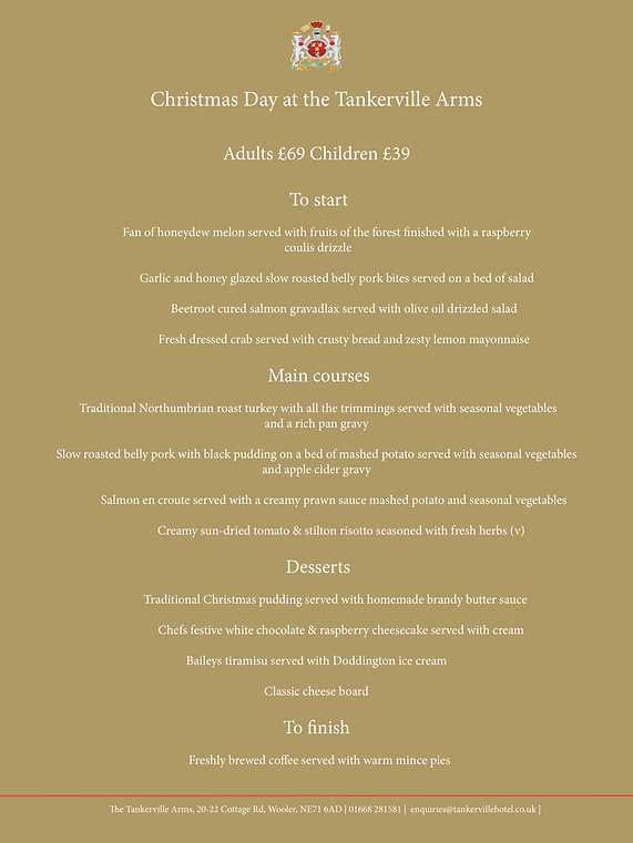 Tankerville arms Christmas Day Menu 2019