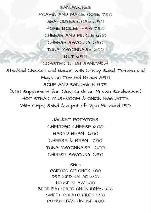 Eating out, pub food Craster Arms, Beadnell Menu. Northumberland. Dog friendly
