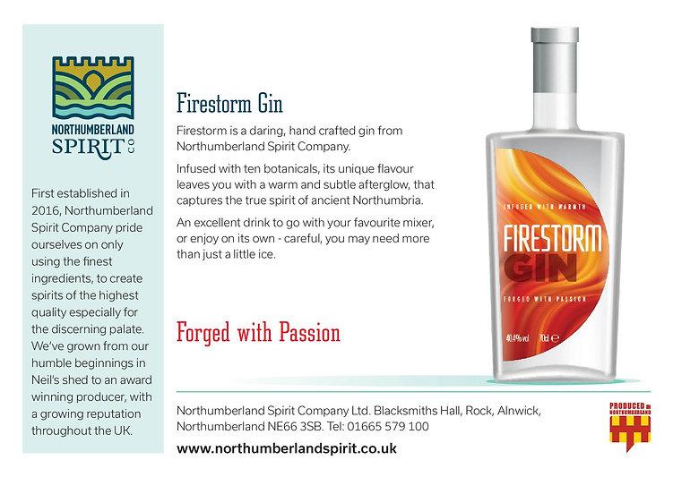 Firestorm Gin. Northumberland Spirit Company. Gin
