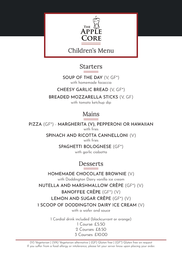 Apple Core Children's Menu - April 2019.