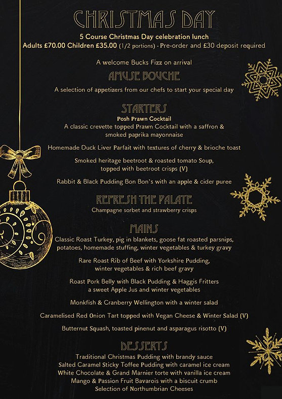 Craster Arms Christmas Day Menu 2019