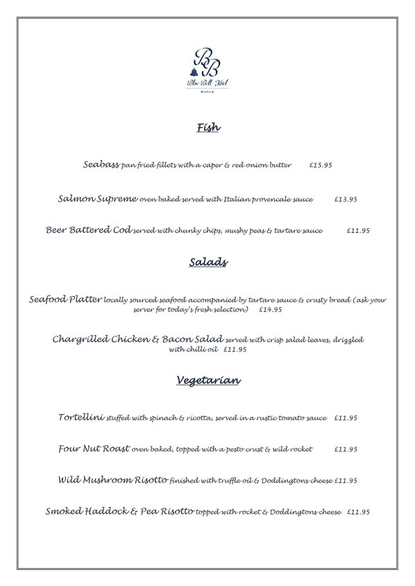 Blue Bell Hotel Belford Restaurant menu. Eating out in Northumberland