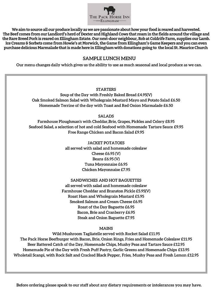 Pub Food. Eating out in Northumberland. Pack Horse Inn Ellingham menu