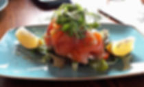 The lindisfarne Inn, Northumberland, smoked salmon and cream cheese crossini starter. Eating out in Northumberland