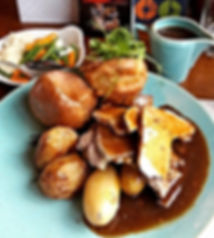 Sunday Lunch at The Lindisfarne Inn Beal Northumberland. Traditional Sunday dinner with yorkshire pudding, roast potatoes, vegetables and gravy. Eating out in Northumberland