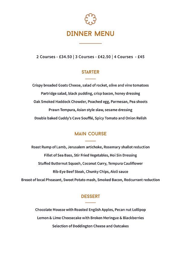 The Cookie Jar Alnwick Northumberland. Dinner Menu 2019