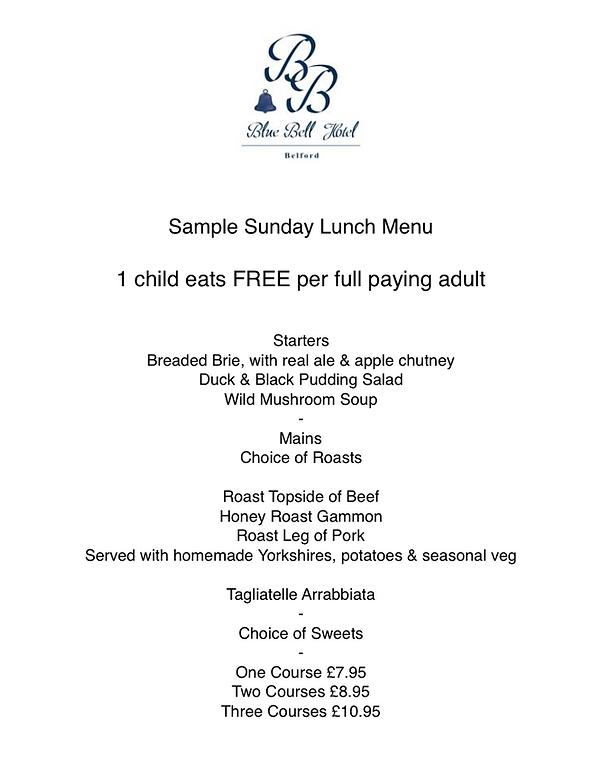 Blue Bell Hotel Belford Sunday Lunch menu. Eating out in Northumberland.Kids eat free