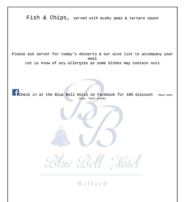 Blue Bell Hotel Belford Lunch menu. Eating out in Northumberland. Pub food 2- course lunch special offer