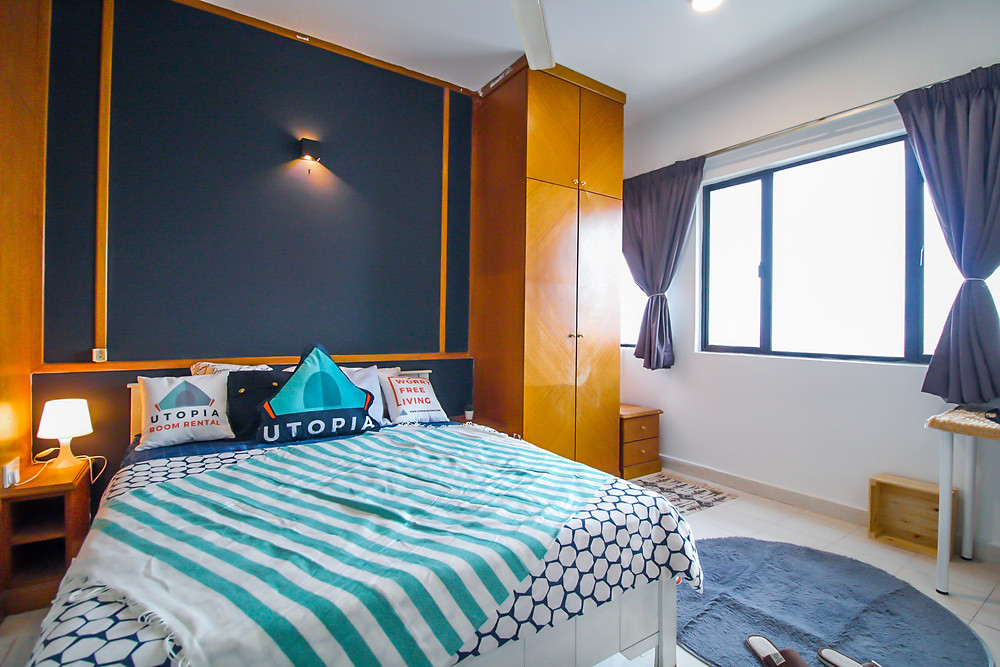rent cheap modern rooms in kuala lumpur KL minimalist muslimah female-only room bedroom design ideas bedsheet masterbedroom in malaysia
