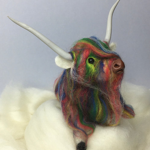Rainbow Highland Cow Felting Kit