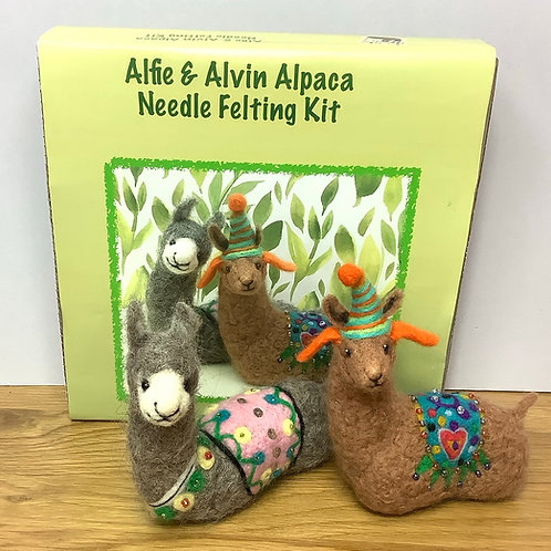 Alfie and Alvin Alpaca Needle Felting Kit