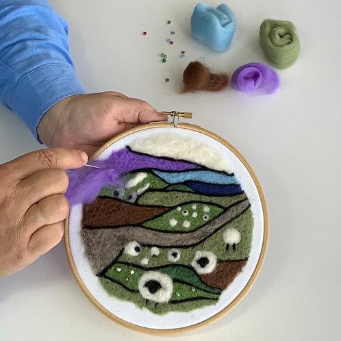 Felted picture kit 'Hillside Cottages'