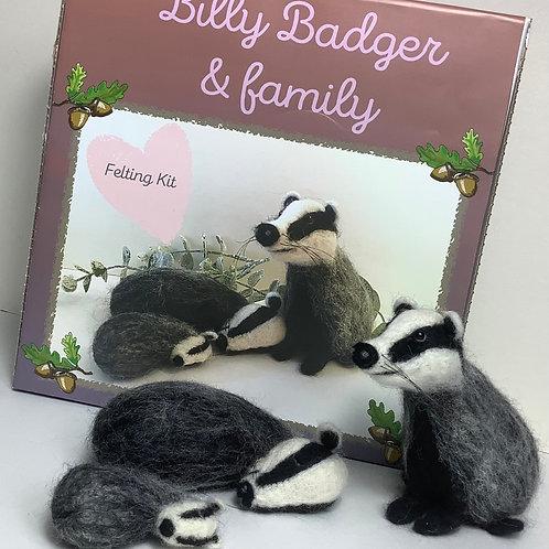 Billy Badger & family felting kit