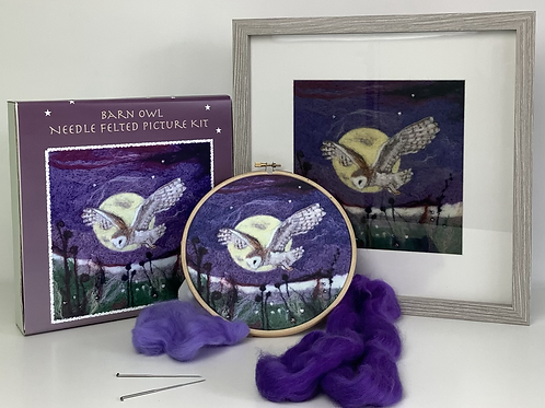 Barn Owl 2D Felted Picture Kit