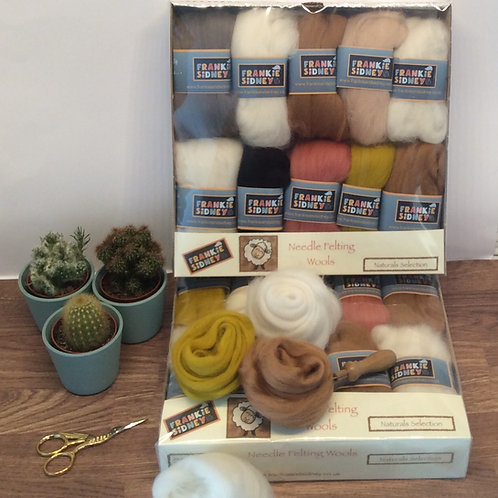 Natural colours felting wool selection pack 200g approx