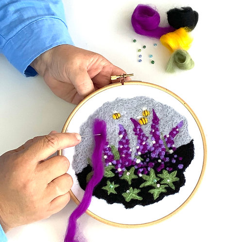 Felted Picture Kit 'Lupins'