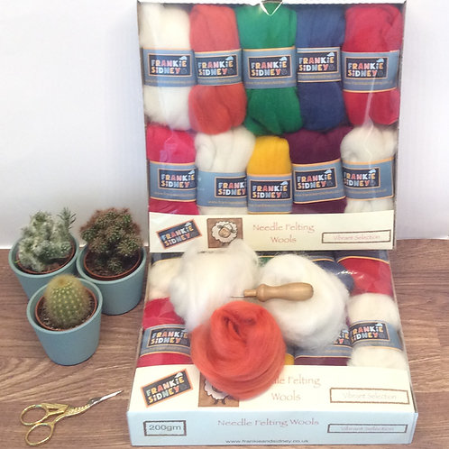 Vibrant shades Felting wools selection pack 200g approx..