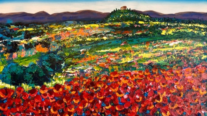 Poppies in Tuscany 30x40