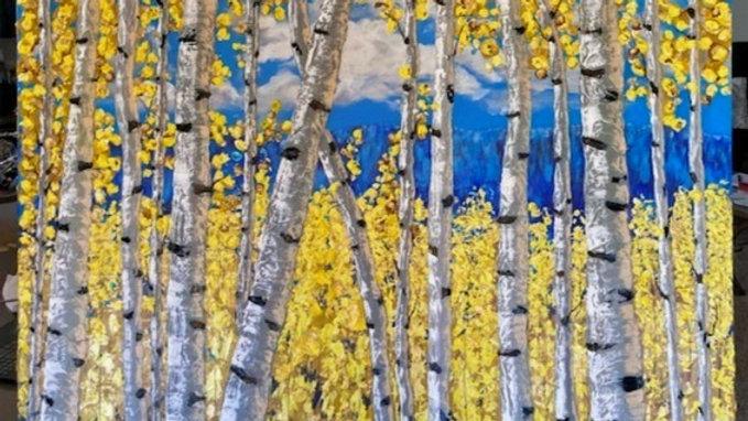Birch Golden Leaves 36x48