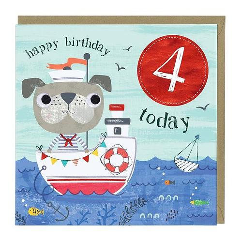 4 Today Sailor Dog Children's Birthday Card