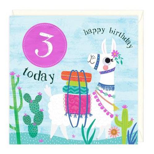 3 Today Llama Children's Birthday Card