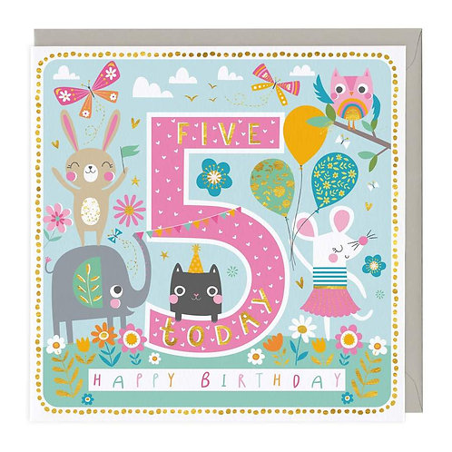 5 Today Animal Party Children's Birthday Card
