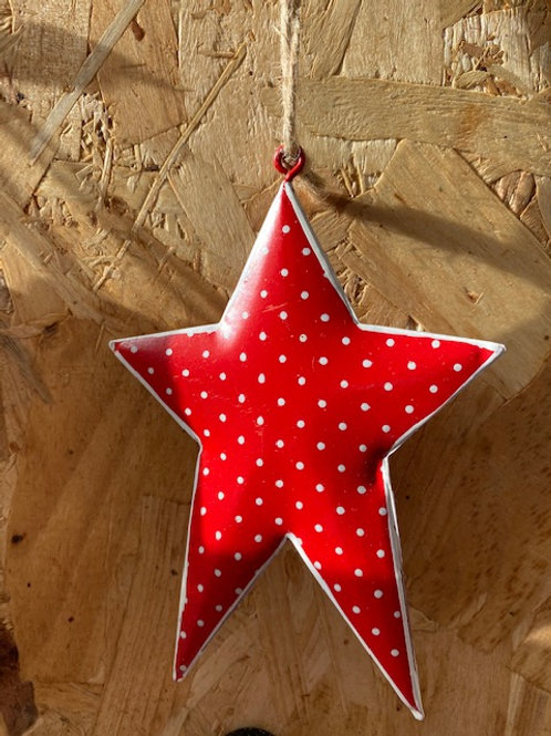 Red/White Polka Dot Tin Star