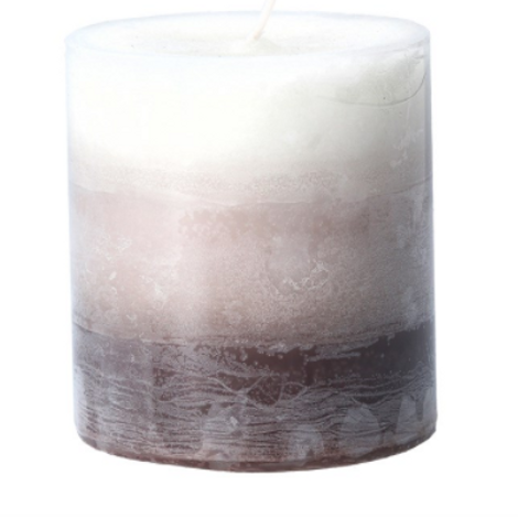 Ombre Brown Coconut Scented Pillar Candle