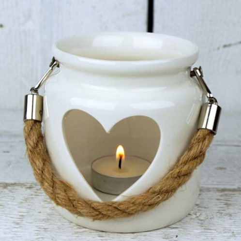 Small White Heart Lantern