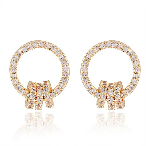 Golden 3 Ring Circle Stud Earrings