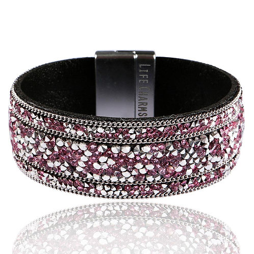 Mulberry and Silver Crystal Wrap Bracelet