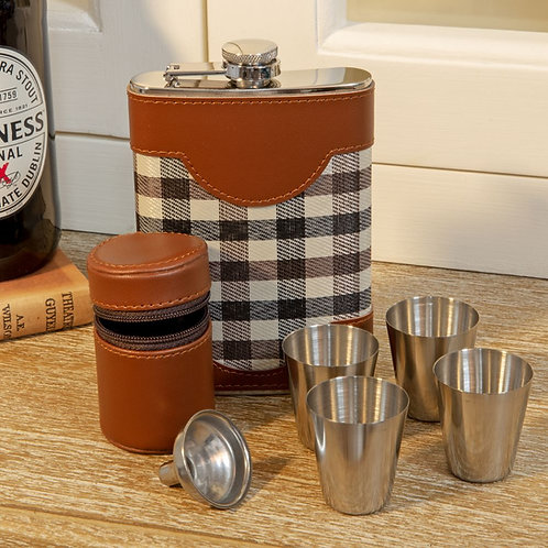 Faux Leather Hip Flask and Shot Glass