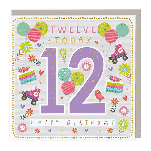 12 Today Roller Party Children's Birthday Card