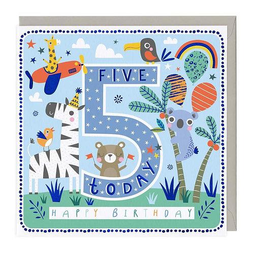 5 Today Party Animals Children's Birthday Card