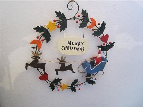 Tin Santa Wreath